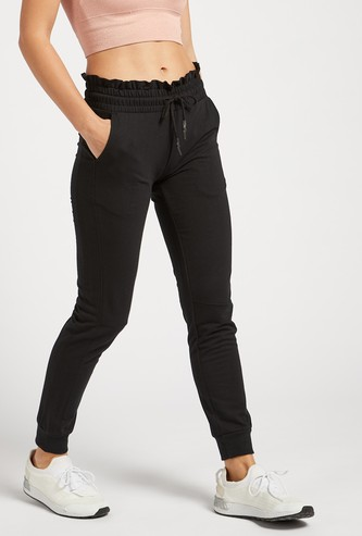 Solid Mid-Rise Jog Pants with Paperbag Waist and Pocket Detail