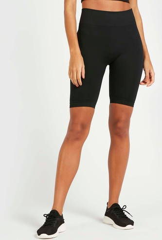 Solid Seamless Cycling Shorts with Ribbed Detail