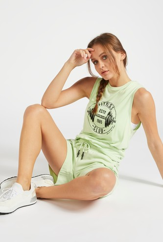 Solid Mid-Rise Shorts with Pocket Detail and Paperbag Waist