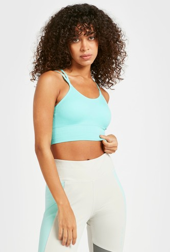 Ribbed Seamless Medium Support Sports Bra with Cross Straps