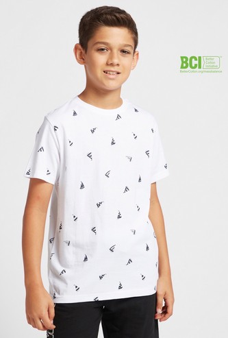 All-Over Ship Print T-shirt with Round Neck and Short Sleeves