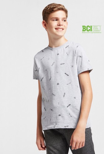 Skate Print Crew Neck T-shirt with Short Sleeves
