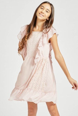 Lace Detail Knee Length Dress with Ruffle Sleeves