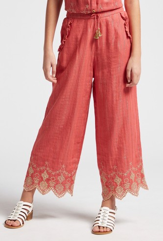 Broderie Trimmed Embroidered Culottes with Side Pockets