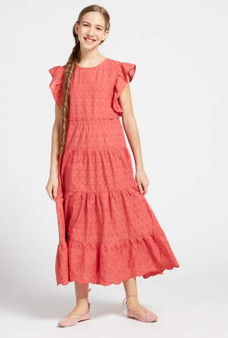Schiffli Detail Tiered Dress with Round Neck and Cap Sleeves