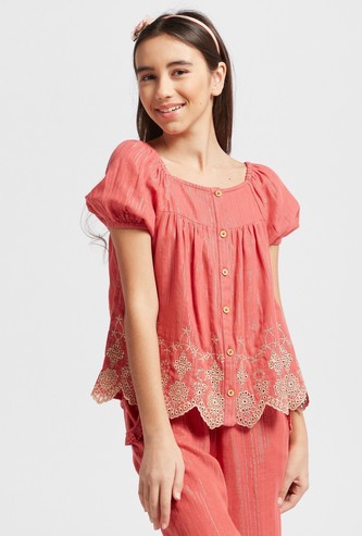 Broderie Anglaise Top with Square Neck and Short Sleeves