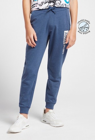 Printed Full-Length Joggers with Drawstring Closure and Pockets