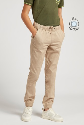 Solid Jog Pants with Pockets and Drawstring