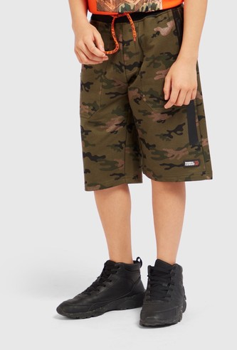 Camo Print Shorts with Pockets and Elasticated Drawstring Waist