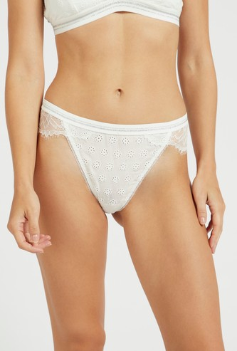 Lace Detail Low-Rise Brazilian Briefs with Elasticised Waistband