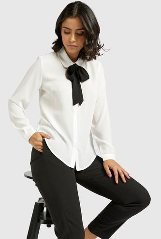 Solid Shirt with Pussy Bow and Long Sleeves