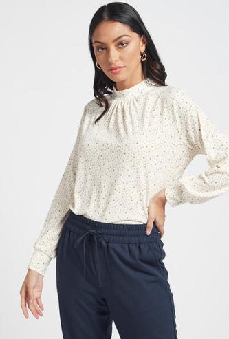 Polka Dot Print High Neck Blouse with Long Sleeves