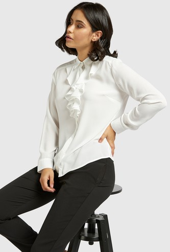 Solid Spread Collar Shirt with Ruffle Detail and Long Sleeves