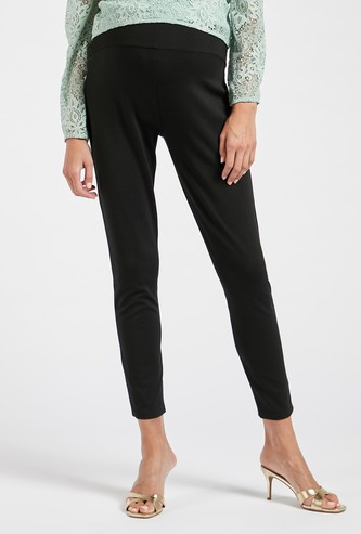 Solid Maternity Ponte Leggings with Elasticised Waistband