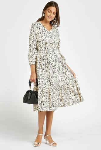 Printed Midi Tiered V-neck Maternity Dress with Tie-Ups