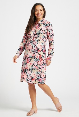 Floral Print Midi Maternity Shirt Dress with Long Sleeves