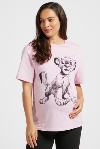 The Lion King Graphic Print Maternity T-shirt with Short Sleeves