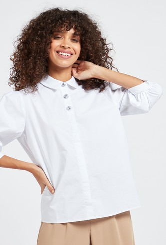 Solid Poplin Top with 3/4 Sleeves and Button Detail