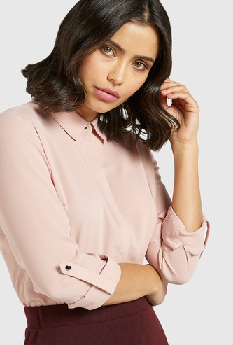 Solid Shirt with Long Sleeves and Button Closure