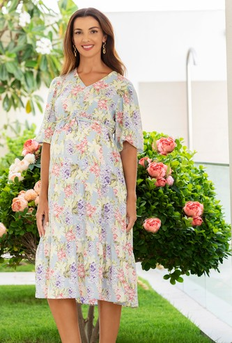 Floral Print Maternity Tiered Dress with Short Sleeves and Tie-Up