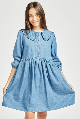 Solid Dress with Peter Pan Collar and 3/4 Sleeves