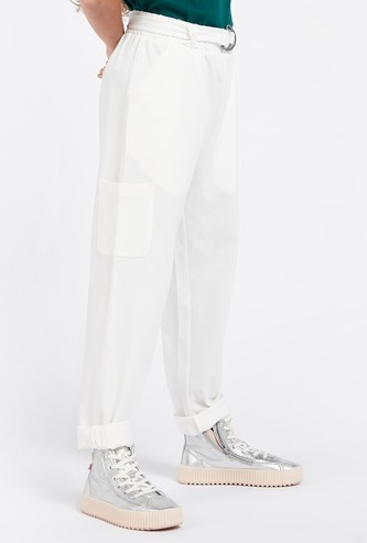 Solid Trousers with Paperbag Waist and Pocket Detail