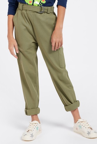 Solid Trousers with Pockets and Paperbag Waist