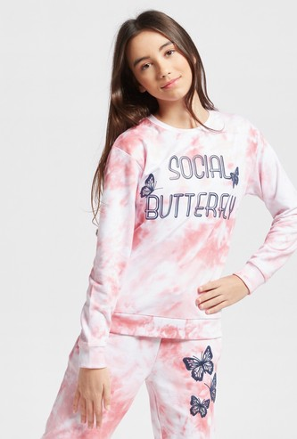 Butterfly Print Tie Dye Round Neck Sweatshirt with Long Sleeves