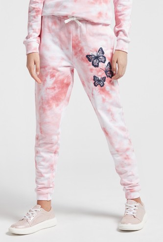 Butterfly Print Tie Dye Joggers with Pockets and Drawstring Closure