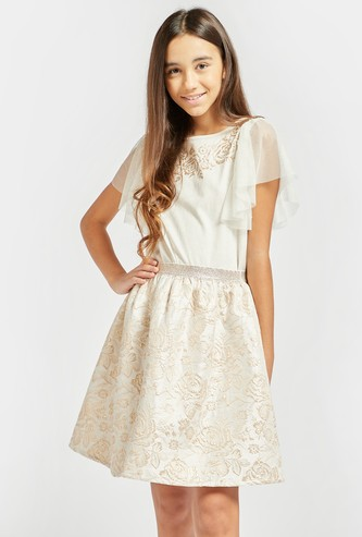 Embroidered Detail Jacquard Dress with Round Neck and Frill Sleeves