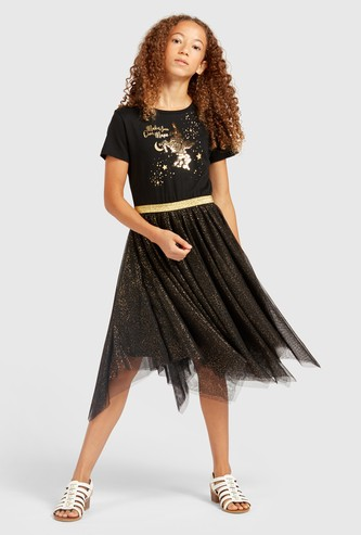 Embellished Knee Length Dress with Short Sleeves