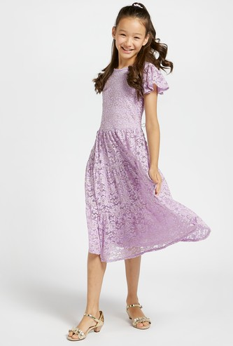 Lace Tiered Dress with Round Neck and Frill Sleeves