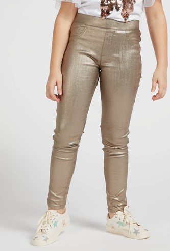 Skinny Fit Glitter Accent Jeggings with Elasticised Waistband