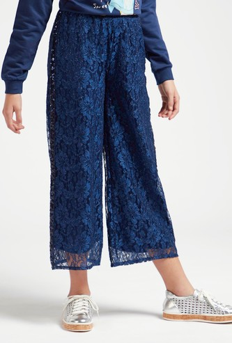 Lace Detail Culottes with Side Tape and Elasticised Waistband