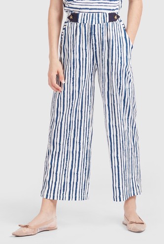 Striped Ankle Length Culottes with Elasticated Waistband
