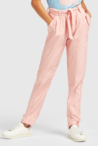 Solid Pants with Pockets and Tie-Ups