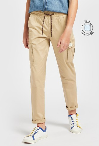 Solid Full-Length Cargo Pants with Drawstring Closure