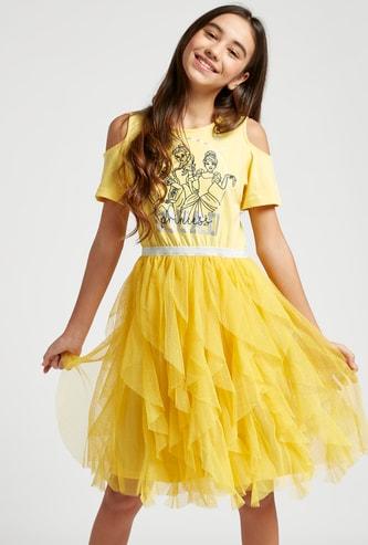 Princess Print Cold Shoulder Dress with Short Sleeves