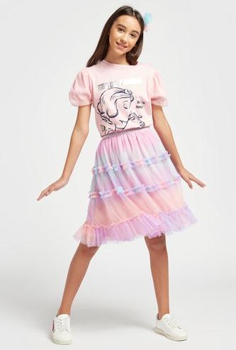Snow White Print T-shirt and Ruffle Detail Skirt Set