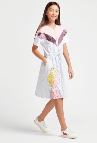 Princess Aurora Print Dress with Sequin and Pocket Detail