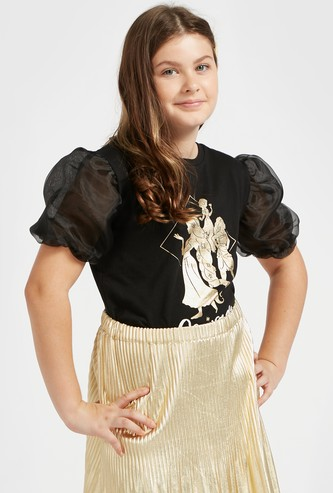 Princess Print T-shirt with Round Neck and Puff Short Sleeves