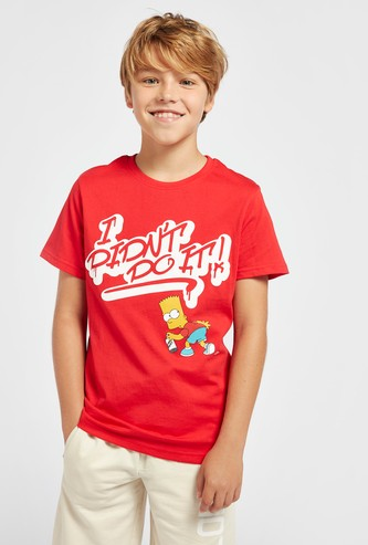 Simpsons Print Round Neck T-shirt with Short Sleeves