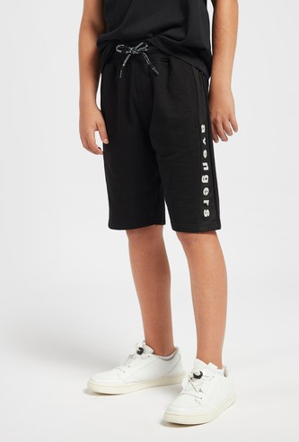 Avengers Side Panel Print Shorts with Drawstring Closure