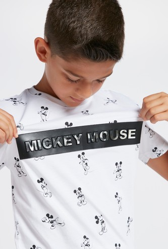 Mickey Mouse Print T-shirt with Short Sleeves and Tape Detail