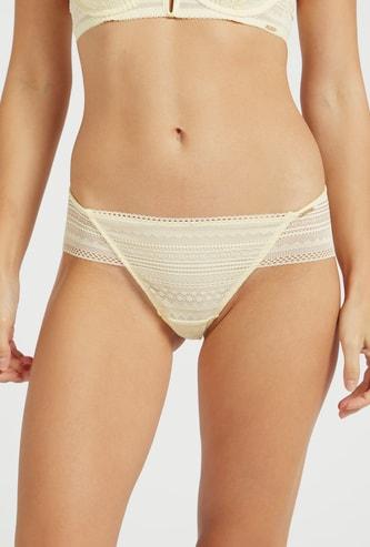 Lace Mid-Rise Bikini Briefs with Elasticised Waistband