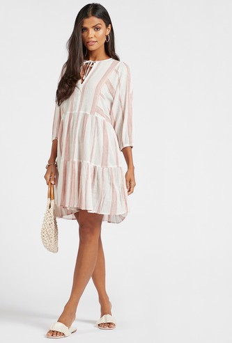 Striped Kaftan Dress with 3/4 Sleeves and Tie-Ups