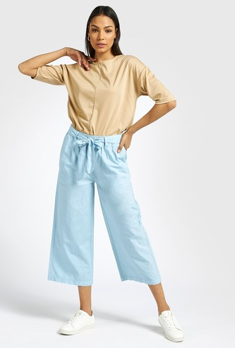 Solid High-Rise Ankle Length Culottes with Tie-Ups and Pockets