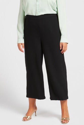 Solid Mid-Rise Cropped Wide Leg Trousers with Semi-Elasticated Waist