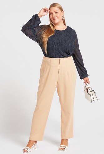 Solid Trousers with Pockets and Pattern Detail