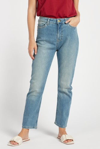 Straight Fit Solid High-Rise Jeans with Pockets and Belt Loops